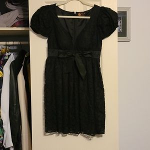 Short cocktail black lace party dress